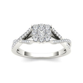 De Couer 10k White Gold 1/2ct TDW Cushion-shape Diamond Engagement Ring (H-I, I2)