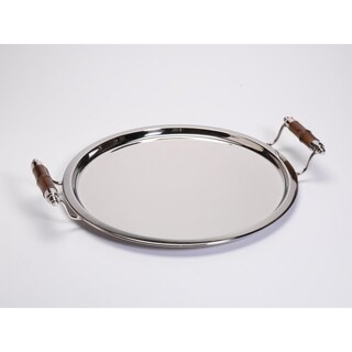 Montecito Round Polished Nickel Tray with Bamboo Handles