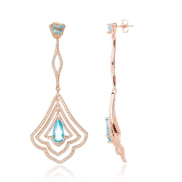 Blue Box Jewels Rose Gold Plated .925 Sterling Silver Bell Flower Dangle Earrings