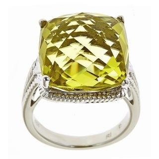 D'Yach Sterling Silver Lemon Quartz Cocktail Ring