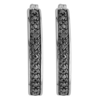 Sterling Silver 1/6ct TDW Black Diamond Hoop Earrings (I2)