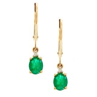 D'yach 10k Yellow Gold Zambian Emerald and Diamond Accent Dangle Earrings