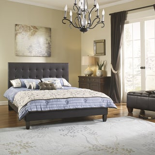 Sleep Sync Waverly Upholstered Brown Leather Platform Bed