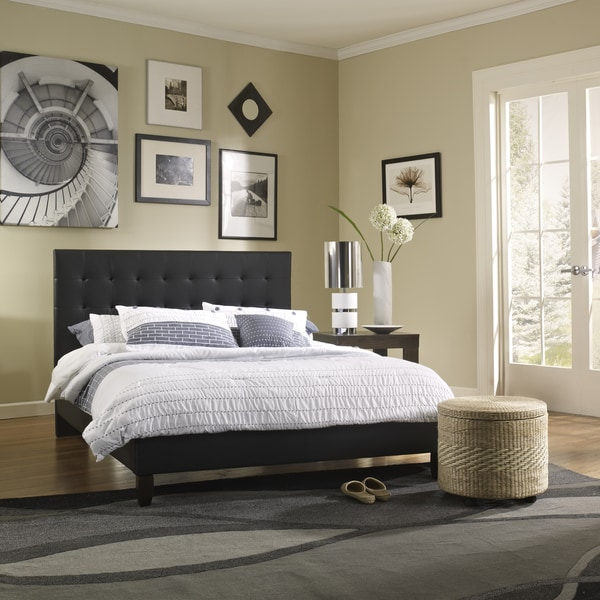 Sleep Sync Waverly Upholstered Black Leather Platform Bed