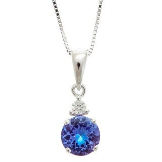 Anika and August 14k White Gold Tanzanite and Diamond Accent Pendant Necklace