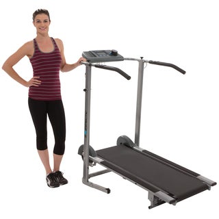 Exerputic 100XL High-capacity Magnetic Resistance Manual Treadmill with Heart Pulse System