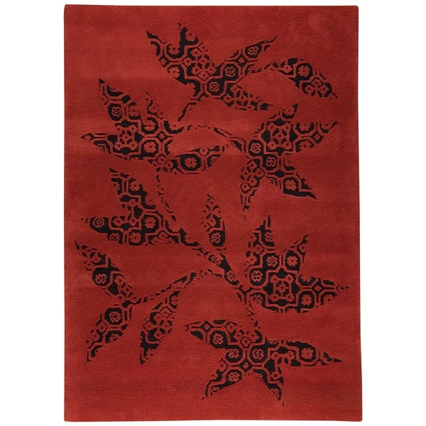 Hand-tufted Wool Sama Red Transitional Floral Rug (6'6 x 9'9)
