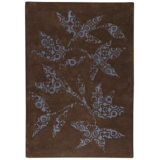 Hand-tufted Wool Sama Brown/ Light Blue Transitional Floral Rug (5'6 x 7'10)