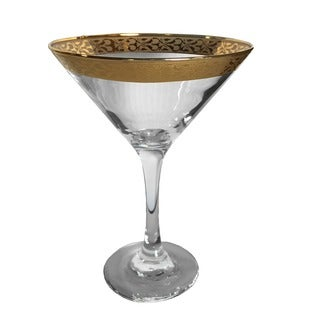 6-piece Martini Glass Set with Gold Rims