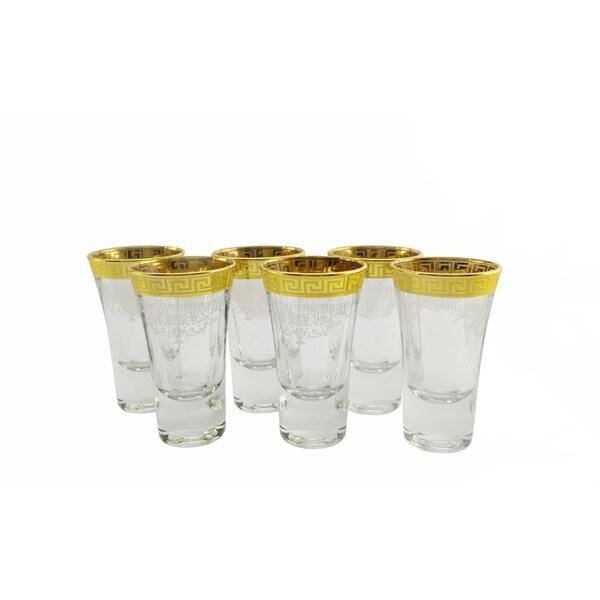Gold Trim Shooter Glasses 6-piece Set