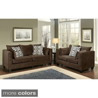 Furniture of America Wallena Modern Chenille 2-Piece Sofa Set