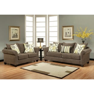 Furniture of America Papina Contemporary 2-Piece Chenille Sofa Set