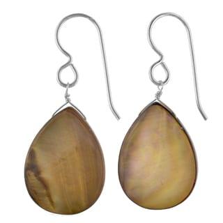 Ashanti Sterling Silver Smokey Brown Mother of Pearl Handmade Earrings (Sri Lanka)
