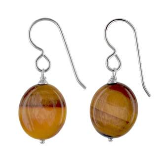 Ashanti Sterling Silver Tiger's Eye Gemstone Handmade Earrings (Sri Lanka)