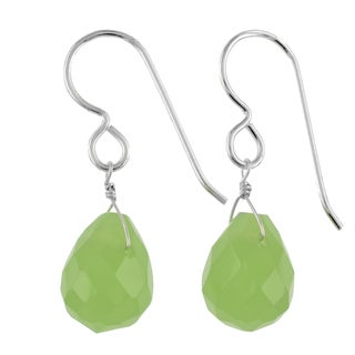 Ashanti Sterling Silver Jade Briolette Gemstone Handmade Earrings (Sri Lanka)