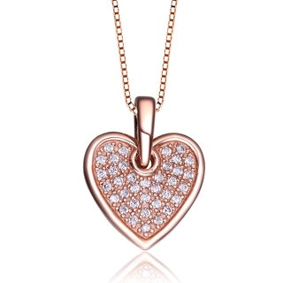 Collette Z Rose-plated Sterling Silver Cubic Zirconia Heart Necklace