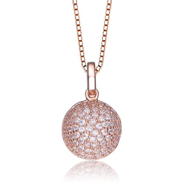 Collette Z Rose-plated Sterling Silver Cubic Zirconia Ball Necklace