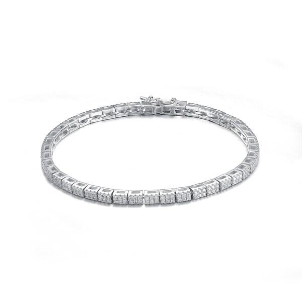 Collette Z Sterling Silver Cubic Zirconia Fine Brick Tennis Bracelet