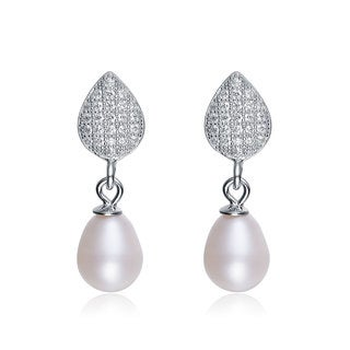 Collette Z Sterling Silver Cubic Zirconia White Freshwater Pearl Dangling Earrings (6.5-7.5 mm)