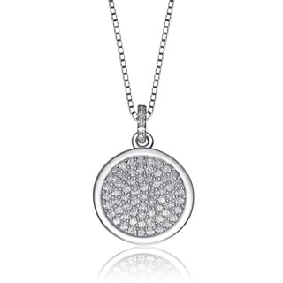 Collette Z Sterling Silver Cubic Zirconia Micro Pave-set Round Necklace