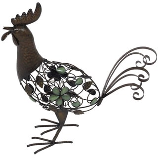 Glow in the Dark Beaded Strutting Rooster Garden Statue