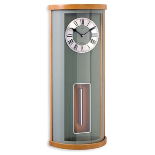 Opal Quarter Chime Clock with Curved Glass Fixed in Wooden Case and Designer Dial with Cylindrical Pendulum