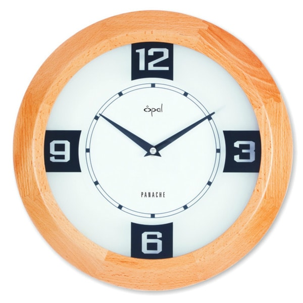 Opal Round Wooden Case Clock with Select Printed Figures