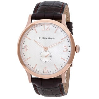 Joseph Abboud Men's Rose Goldtone and Black Leather Watch