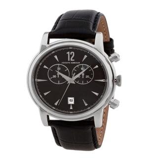 Joseph Abboud Men's Tonal Black Leather-strap Watch