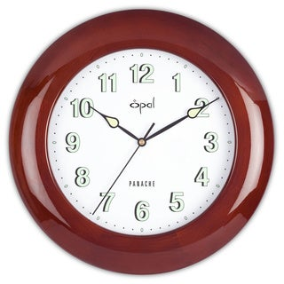 Opal Piano Finish Round Wooden Case Clock with Luminous Dial and Hands