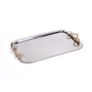 Large Rectangular Tray with Horse Bit Handles