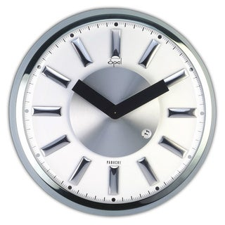 Opal Stainless Steel Round Case Clock with Dome Glass