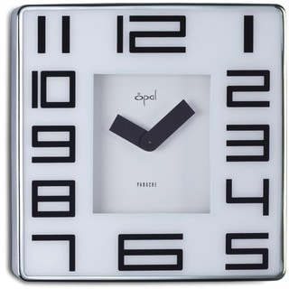 Opal 12-inch Stainless Steel Square Case Clock