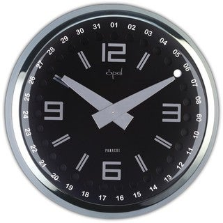 Opal 13-inch Stainless Steel Round Case Clock with Dome Glass