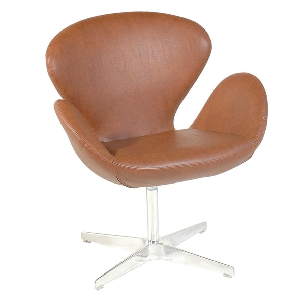 Walnut Leather Flower Arm Chair