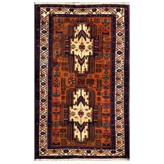 Herat Oriental Semi-antique Afghan Hand-knotted Tribal Balouchi Brown/ Ivory Wool Rug (3'3 x 5'5)