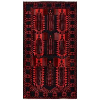 Herat Oriental Semi-antique Afghan Hand-knotted Tribal Balouchi Red/ Navy Wool Rug (3'9 x 6'10)