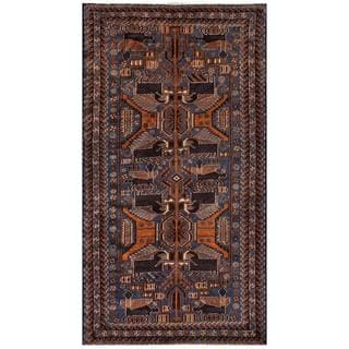 Herat Oriental Semi-antique Afghan Hand-knotted Tribal Balouchi Navy/ Brown Wool Rug (3'7 x 6'7)