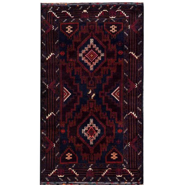Herat Oriental Semi-antique Afghan Hand-knotted Tribal Balouchi Navy/ Purple Wool Rug (3'4 x 5'10)