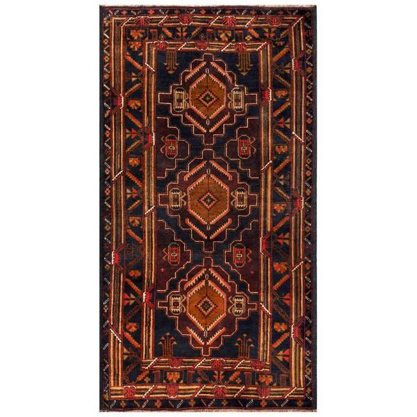 Herat Oriental Semi-antique Afghan Hand-knotted Tribal Balouchi Navy/ Purple Wool Rug (3'5 x 6'3)