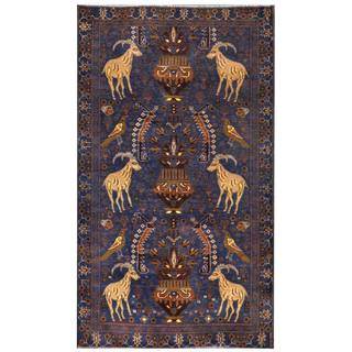 Herat Oriental Semi-antique Afghan Hand-knotted Tribal Balouchi Navy/ Brown Wool Rug (3'8 x 6'4)