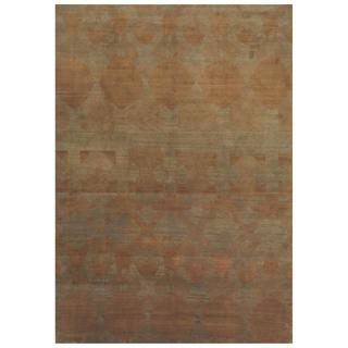 Herat Oriental Indo Hand-knotted Tibetan Green/ Brown Wool Rug (8'1 x 11'2)