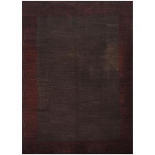 Herat Oriental Indo Hand-knotted Tibetan Brown/ Burgundy Wool Rug (9' x 12'1)