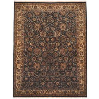 Herat Oriental Indo Hand-knotted Tabriz Turquoise/ Beige Wool Rug (9'4 x 12')