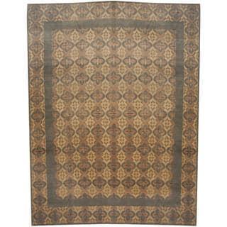 Herat Oriental Indo Hand-knotted Tibetan Beige/ Olive Wool and Silk Rug (9'5 x 12')