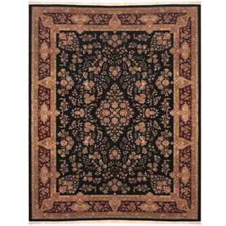 Herat Oriental Indo Hand-knotted Kerman Black/ Maroon Wool and Silk Rug (8'9 x 11'9)