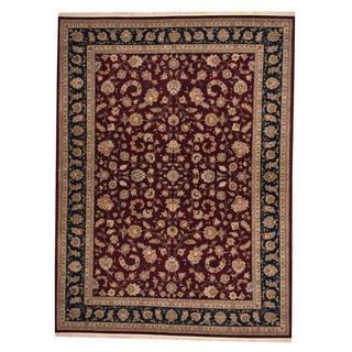 Herat Oriental Indo Hand-knotted Tabriz Maroon/ Navy Wool and Silk Rug (8'10 x 12')