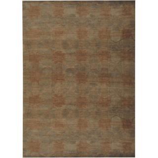Herat Oriental Indo Hand-knotted Tibetan Olive/ Beige Wool Rug (8'9 x 12')