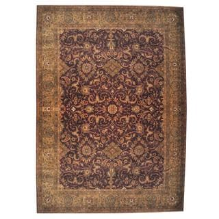 Herat Oriental Indo Hand-knotted Mahal Burgundy/ Gold Wool Rug (9'3 x 11'7)
