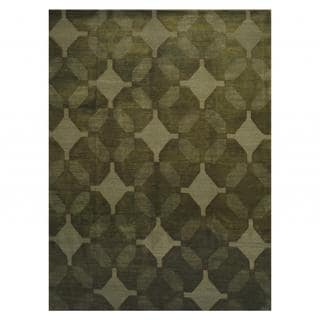 Herat Oriental Indo Hand-knotted Tibetan Dark Green/ Light Green Wool Rug (9' x 12')